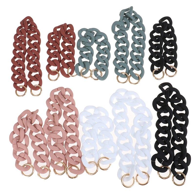 30cm/41cm DIY Detachable Acrylic Chain Handle  Fashion Colorful Fish Bone Plastic Strap Shoulder Bags Accessories For Women