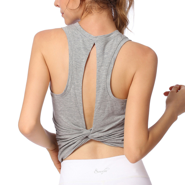 Details about  /Womens Yoga Tank Tops Crop Backless Sports Bra Padded Gym Vest Fitness Run Shirt