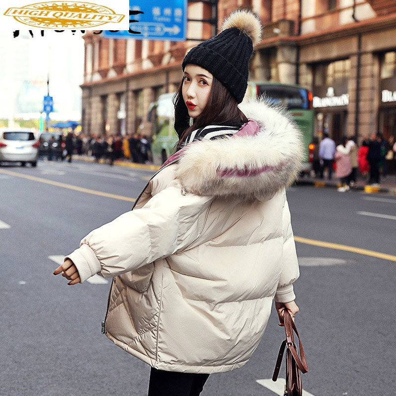 90% White Duck Down Jacket Women Clothes 2019 Winter Coat Women Raccoon Fur Collar Korean Puffer Jacket Women Warm Parka YY2107