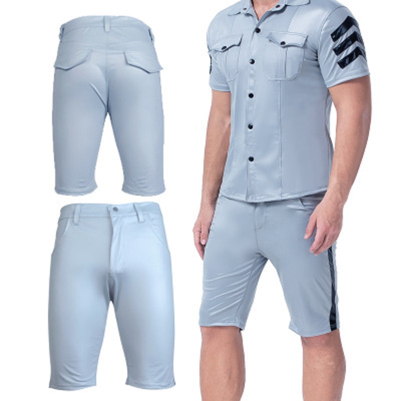 Temperament Interest Sexy Patent Leather Style Men Casual Shorts Wild Couple Wear Club Short Trousers Walking Knee-Length Shorts