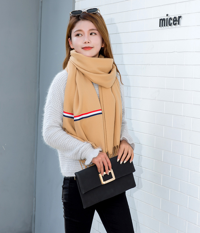 Europe And America Autumn And Winter Ming Celebrity Style Faux Cashmere Three Bars Solid Color Scarf COUPLE'S Ribbon Scarf Shawl