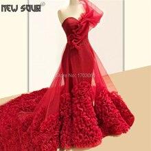 אדום אחד כתף שמלות נשף המפלגה שמלה 2020 Robe דה Soiree קוטור שכבות ערב שמלות ערבית דובאי Abendkleider טול שמלה