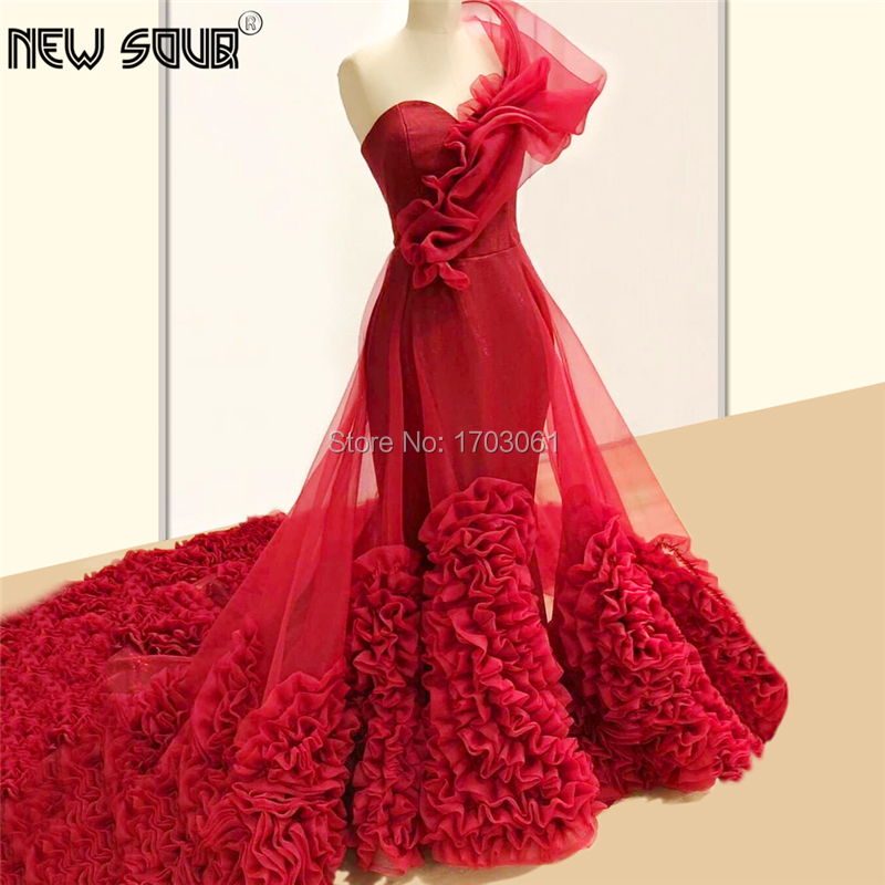 Red One Shoulder Prom Dresses Party Dress 2020 Robe De Soiree Couture Tiered Evening Gowns Arabic Dubai Abendkleider Tulle Gown
