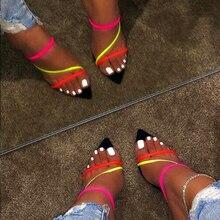 Pzilae 2019 אופנה סנדלי נשים קיץ שקופיות שחור סופר עקב גבוה סקסי גבירותיי חיצוני נעלי בית בתוספת גודל 12 נשים נעליים