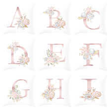 1PC Flower Letter Pillow Cover 45x45cm Room English Alphabet For Home goods  Pillowcase Polyester