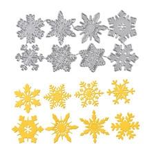 DiyArts 8pc Snowflake Cutting Dies Christmas Metal Stencils Die Cut for DIY Scrapbooking Album Paper Card Embossing