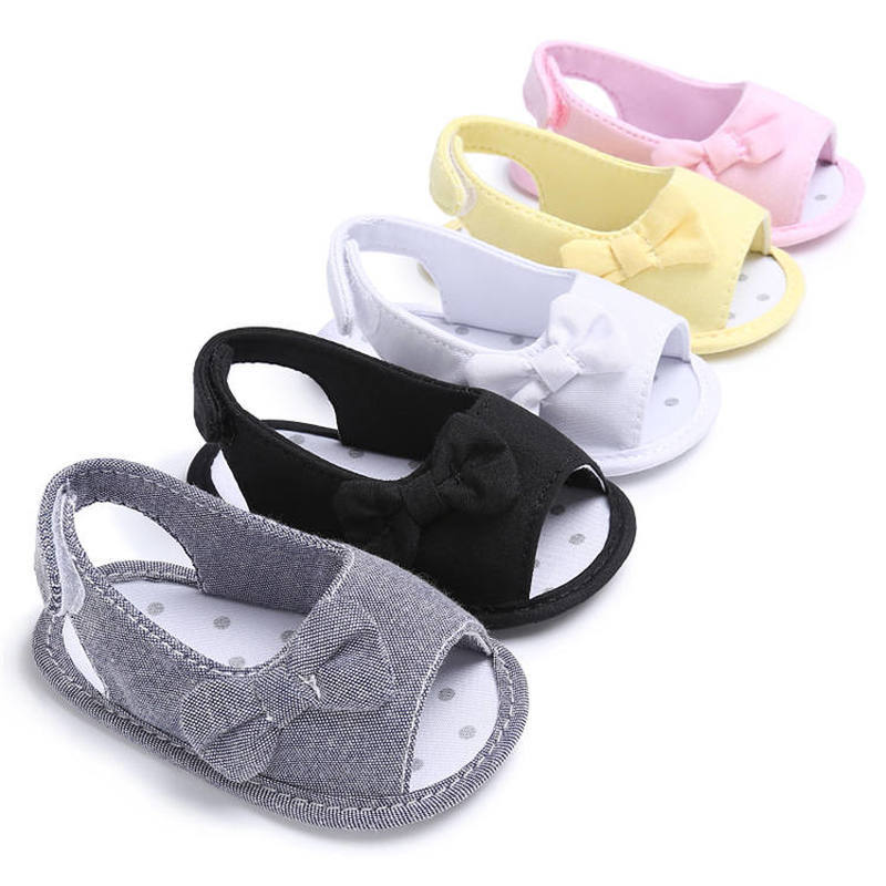 Baby Girl Sandals Summer Infant Cute Bowknot Canvas Anti-Slip Cotton Sole 0-2 Years Baby First Walkers Party Gift Princess Shoes