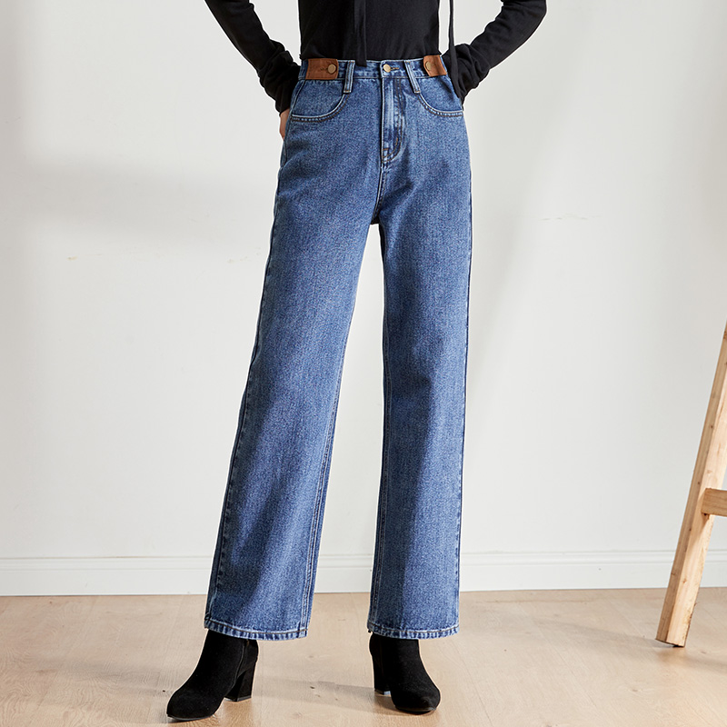 LEIJIJEANS 2019 Autumn Large Size Women's New High Waist Wide Leg Large Straight Jeans Casual Elegant Ladies Long Jeans 9215