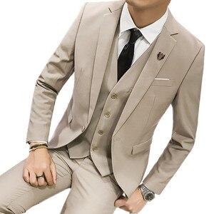 Jacket Pant Vest Men 3 Pieces Slim Fit Casual Tuxedo Suit / Male Suits Set Wedding Groom Dress business Blazers Trousers S-3XL