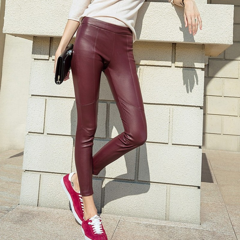 2020 New Women Sexy Genuine Leather Pencil Pants High Waist Push Up Skinny Trousers Office Lady Slim Fit Sheepskin Leather Pants