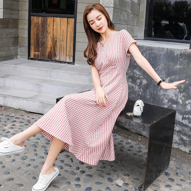 2019 mode femmes d'été robes noir blanc Plaid robe col en V à manches courtes Empire Vintage a-ligne robes décontracté robes