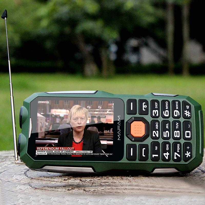 Mafam D2016 Voz Mágica Dual FM Lanterna Ao Ar Livre À Prova de Choque Mp3/mp4 Banco de Potência Da Antena TV Analógica Telefone Móvel Robusto celular P242