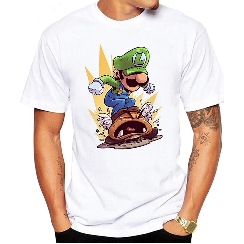 LUSLOS Anime Tshirt Men's T-shirts Fashion Super Mario Print Male T-shirt Plus Size White Casual Tshirts Homme Streetwear Tops