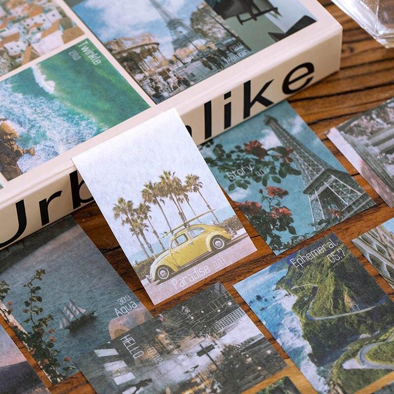 60 Pcs/Pack Travel Scenery Sticker Writable Journal Sticker Label Diary Stationary Deco Album Sticker Flake Scrapbooking