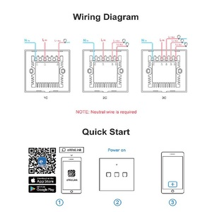 Image 5 - SONOFF Tx T0 US/EU/UK 1/2/3 Gang Wifi Wall Light Switch Panel Touch/Voice/APP Control Eweilink Smart Home Automation Alexa IFTTT