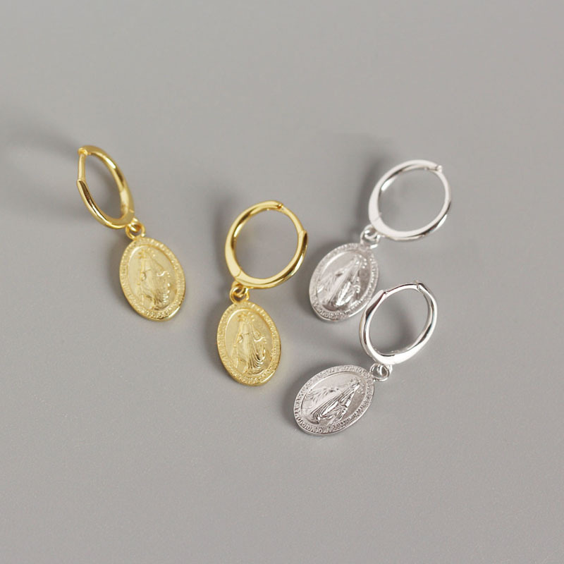 S925 pure silver Santa maria mother COINS ear hoop earrings female Geometric small hoops gold color fashion Delicate jewerly