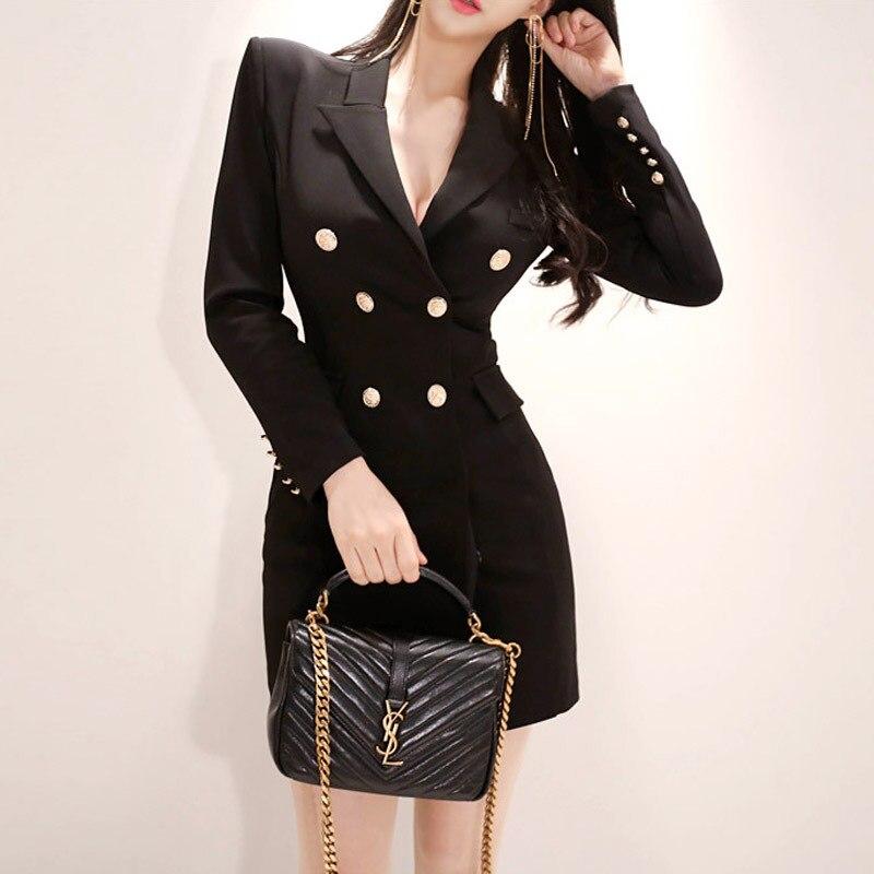 2018 New Style Korean-style Ol Elegant Slim Fit Double Breasted Fashion Sheath Dress Suit Jacket Women's