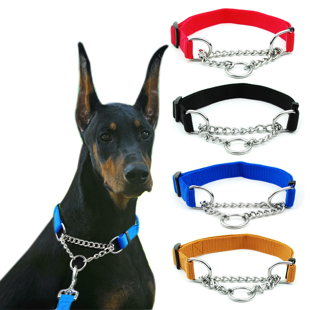 Martingal Dog Collar with Welded Link Chain Pet Nylon Slip Pinch Collar Dog Training Accessories Adjustable Collar for Large Dog
