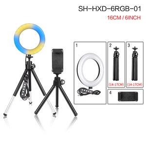 Image 2 - 6 אינץ/16cm מיני טבעת אור Selfie LED טבעת מנורה עם שולחן עבודה חצובה טלפון Stand מחזיק עבור Youtube איפור וידאו אור
