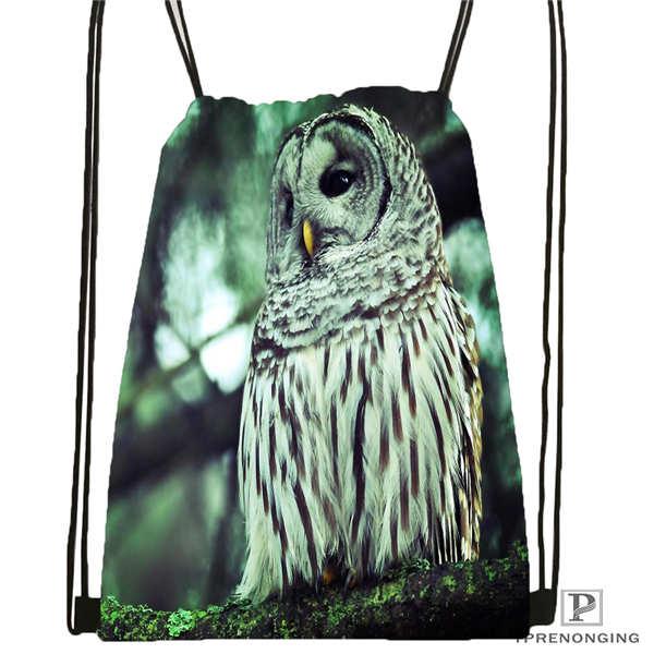 Custom Owl   Drawstring Backpack Bag Cute Daypack Kids Satchel (Black Back) 31x40cm#180611-03-133