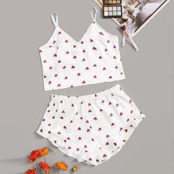 Sexy lingerie pajamas for women kigurumi home clothes Heart Print Satin Camisole Pajamas Ruffled Flounce Shorts Lingerie Set h4 flounce swim dress set