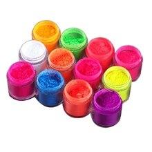 Glitter-Powder Ment Nail Pig Dust Glow-In-The-Dark 12-Colors/Set Luminous