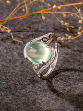 natural Prehnite, luxury Jewelry 2020, rings for women, ring for girl 925 sterling silver,female accessories, wedding