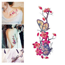 D Flower Temporary Tattoos Stickers Lotus Cherry Blossoms Flash Tattoo Sticker