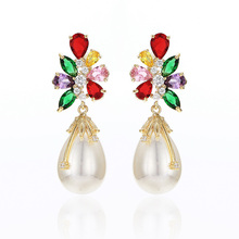 VERY GIRL Fashion Bridal Simulated Pearl Earrings Cubic Zirconia Elegant Brincos Jewelry 2019