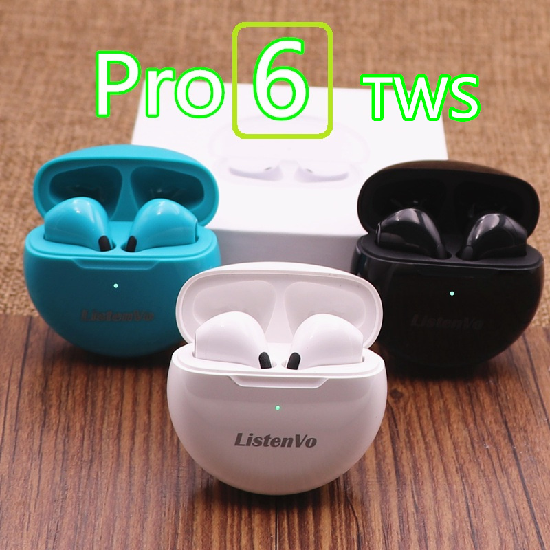 Air Pro 6 TWS bezprzewodowe słuchawki z mikrofonem Tws Bluetooth słuchawki douszne Sport Running słuchawka dla Apple iPhone Xiaomi Huawei