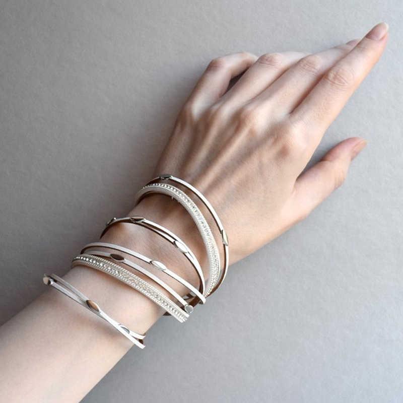 Amorcome 革のブレスレット & バングル葉チャーム自由奔放に生きるマルチ層ラップブレスレットファム宝石類のギフト