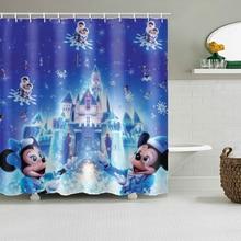 цена на Mickey Minnie Castle Girl Bathroom Shower Waterproof Polyester Shower Curtain Cartoon Curtains Children Bathroom Curtain