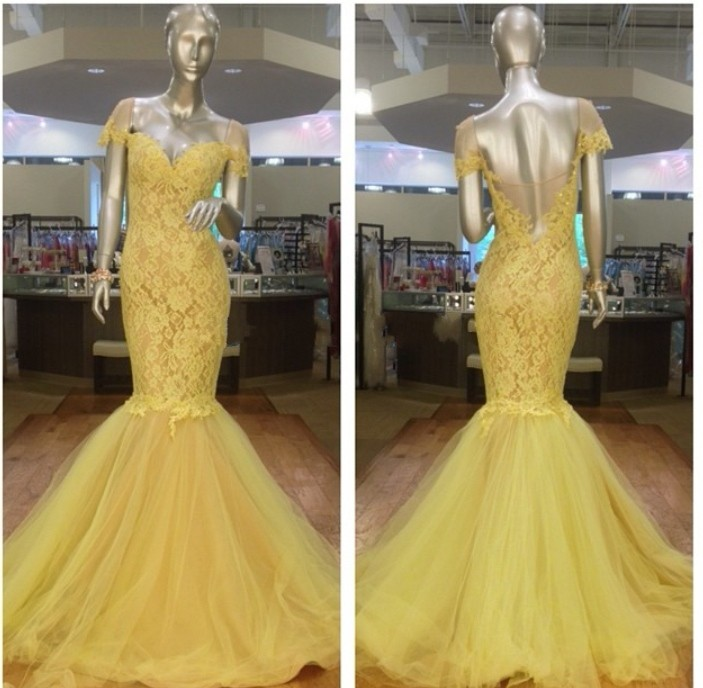 Gorgeous Cap Sleeve Yellow Lace Mermaid Evening Prom Gown Open Back Floor Length Vestidos De Festa