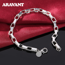 925 Silver Box Chain Big Cube Square Bracelet For Women Silver Jewelry