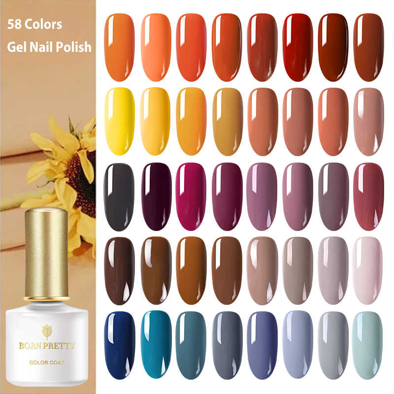 BORN PRETTY Autumn Series Nail Gel 58 Colors Yellow Orange Pure Nail Color Soak Off UV Gel Nail Polish 6ml for Manicuring DIY