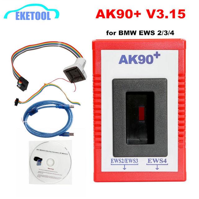 2020 AK90 + مفتاح مبرمج لسيارات BMW EWS2/3/4 مفتاح رمز القارئ V3.19 أحدث إصدار AK90 مفتاح صانع لأداة البرمجة BMW