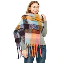 Women's New Thicken Loop yarn Fringed Fritillary Colour Lattice Braided Big Plaid Scarves Lady's shawl in Autumn and Winter(China)