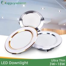 Kaguyahime LED Downlight Lamp 3W 5W 9W 12W 15W 18W 220V Gold/Silver Ultra Thin Down Light Aluminum Round Recessed Spotlight