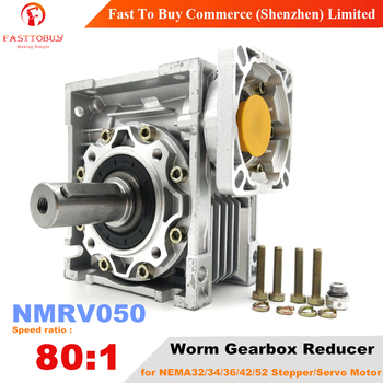 NMRV050 Worm Gearbox, Speed Ratio 80:1, Input Bore 14/19mm, 90° Speed Reducer for NEMA32/34/36/42/52 Servo / Stepper Motor