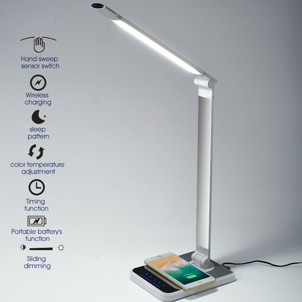 LED Hand Sweep Wireless Charging Telescopic Rotation Ergonomic Desk Lamp