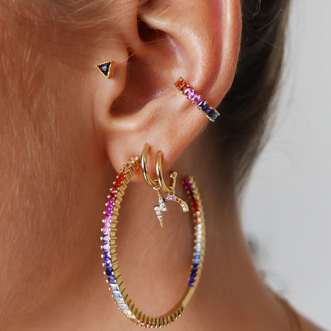 Bohemian Crystal Multicolour Earrings Set Fashion Trendy Moon Lightning Circle Earrings For Women Earcuff Jewelry 2020