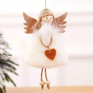 Image 5 - 2021 신년 선물 최신 크리스마스 귀여운 실크 봉제 천사 인형 크리스마스 트리 펜던트 노엘 크리스마스 장식 홈 2020 데코