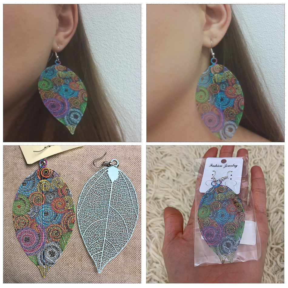 Купить с кэшбэком BRAVEKISS Vintage Leaf Shape Drop Earrings For Women Boho Hollowed-out Fashion Jewelry Trendy Korean Earring 2020 New BPE1401