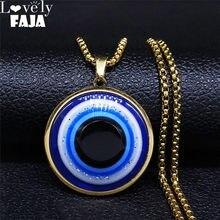 Collar de cadena de acero inoxidable con ojo turco para hombre y mujer, cadena de Color dorado, colgantes, joyería, ojo turco, N3098S03, 2021