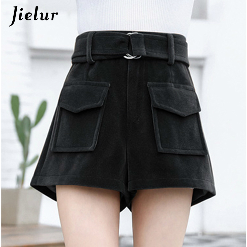 Jielur Women Shorts Wide-Leg High-Waist Winter Femme Korean Casual Woolen Black Harajuku