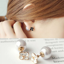 Double Sided Simulated Pearl Ball Studs Earrings Daisy Flower Statement For Women 2019 Fashion Jewelry Party Gift WD396