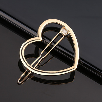 Fashion Metal Love Heart Hair Clip Elegant Star Round Barrette for Women Girls Sweet Hairpins Barrettes Hair Accessories 3