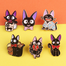 Fashion Black Bow Cat Zinc Alloy Pin Brooches Lovely Animals Badges For Clothes Backpack Pins Gift For Woman And Men Kids