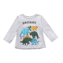 TAutumn Baby Boys Long Sleeve Cartoon Dinosaur Print T-Shirts Kids Tops Tees Shirts Casual Blouse new spring boys girls cartoon cotton tattoo t shirts children tees boy girl long sleeve t shirts kids tops baby clothes 12m 6y