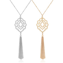 2 Pcs/ Set Minimalist Geometric Circular Sweater Chain Necklace Bohemia Long Tassel Pendant XL617